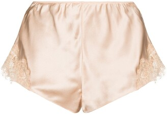 Sainted Sisters Lace Trim Silk Shorts