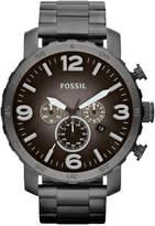 Fossil Men's Chronograph Nate Smoke Tone Stainless Steel Bracelet Watch 50mm JR1437