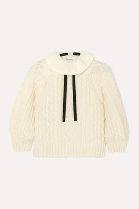 RED Valentino Cropped Bow-detailed Ruffled Cable-knit Wool Sweater - Ivory