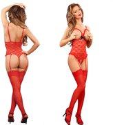 JYtop Women One-piece Cupless Crotchless Lingerie bodysuit Lace Underwear Set