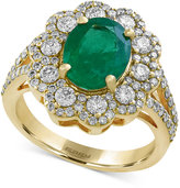 Effy Brasilica by Emerald (2-1/8 ct. t.w.) and Diamond (1 ct. t.w.) Flower Ring in 14k Gold