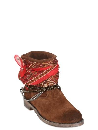 40mm Foulard & Calfskin Ankle Boot