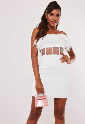 Missguided White Feather Mesh Waist Mini Dress