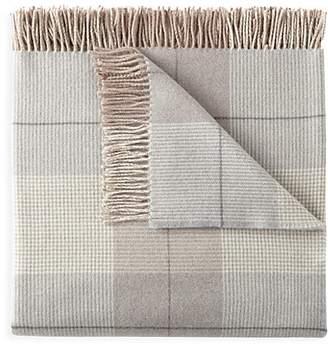 Peacock Alley York Merino Wool Throw Blanket - Pewter