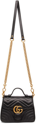 Gucci Black Mini GG Marmont 2.0 Top Handle Bag