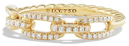 David Yurman Stax Single Row Pavé Chain Link Ring with Diamonds in 18K Gold