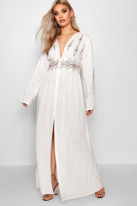 boohoo Plus Embroidered Plunge Maxi Dress