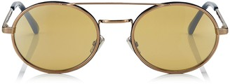 Jimmy Choo JEFF Silver Mirror Oval Sunglasses with Bronze Metal Frame and Blue Temple Ends