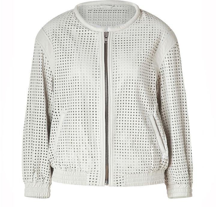 IRO White Perforated Leather Biker Jacket