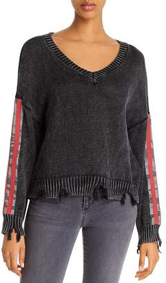 Vintage Havana Camo-Sleeve Distressed Sweater