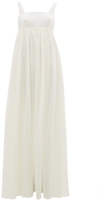 Emilia Wickstead Evelina Square-neck Seersucker-organza Maxi Dress - Ivory
