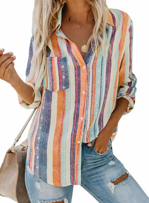 ROSKIKI Womens Stripes Button Down Shirts Roll-up Sleeve Tops V Neck Casual Work Blouses XX-Large Orange