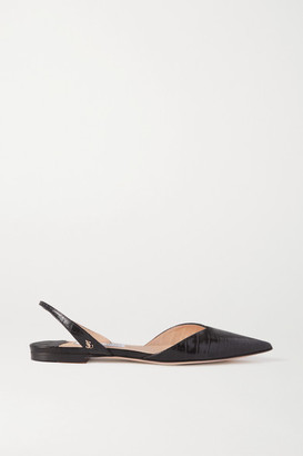 Jimmy Choo Thandi Croc-effect Leather Slingback Point-toe Flats - Black