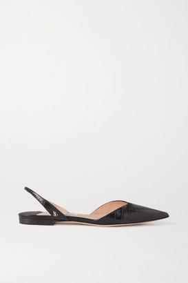 Jimmy Choo Thandi Croc-effect Leather Slingback Point-toe Flats