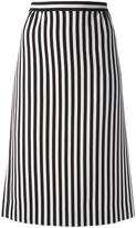 Marc Jacobs monochrome striped A-line skirt - women - Polyester/Triacetate - 4