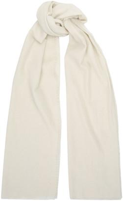 James Perse Fringed Brushed Melange Wool And Silk-blend Scarf