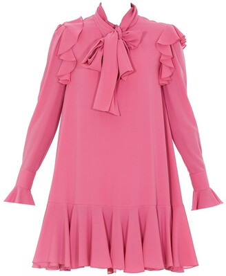Alexander McQueen Pussybow Ruffled Trim Mini Dress