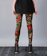 Lily Women's Leggings BGEM - Beige & Red Fishnet Floral Leggings - Women & Plus