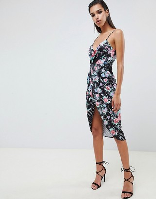 Asos Design DESIGN mixed floral and spot print midi dress-Multi