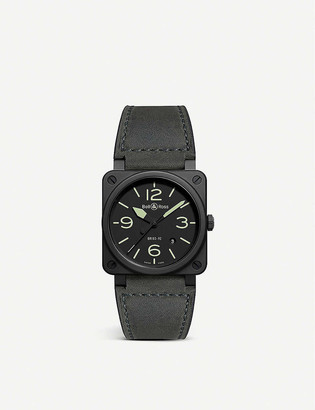 Bell & Ross BR 03-92 MA-1 ceramic and leather watch