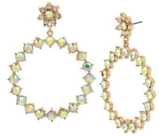 "Betsey Johnson Flower & Stone Gypsy Extra Large 3"" Large Hoop Earrings"