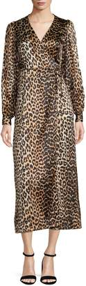 Ganni Leopard Print Silk-Stretch Satin Dress
