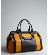 Chloé pumpkin and black leather 'Alice' colorblock satchel