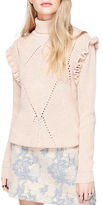 Miss Selfridge Ruffle Trimmed Mockneck Sweater