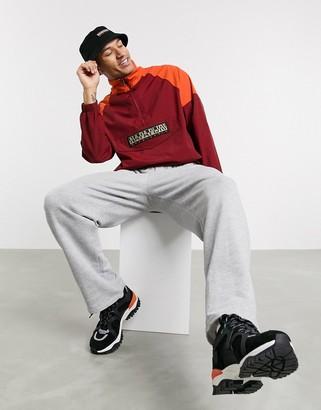 Napapijri Astros CB pullover jacket in burgundy