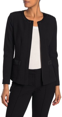 St. John Bella Leather Lace-Up Accent Jacket