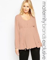 Mama Licious Mama.licious Mamalicious Long Sleeve Woven Top With Pleat Detail