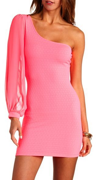 Charlotte Russe Neon One Shoulder Textured Bodycon Dress