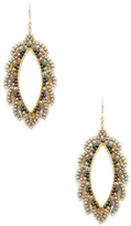 Miguel Ases Tiered Beaded Marquise Statement Earrings