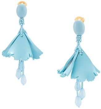 Oscar de la Renta Floral-Drop Clip-On Earrings