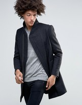 Minimum Allston Slim Wool Overcoat Assymetric Zip And Quilted Lining