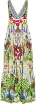 Camilla Exotic Hypnotic Crystal-embellished Silk Crepe De Chine Maxi Dress - Green