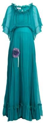 Luisa Beccaria Bead Embellished Silk Georgette Dress - Womens - Green