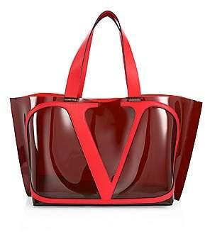 Valentino Women's Garavani Small VLogo Escape Leather-Trim PVC Tote