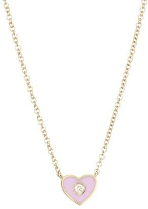 Ef Collection 14K Yellow Gold, Diamond & Enamel Heart Pendant Necklace