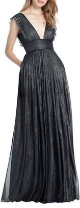 Monique Lhuillier Bridesmaids Lily Metallic Chiffon Gown
