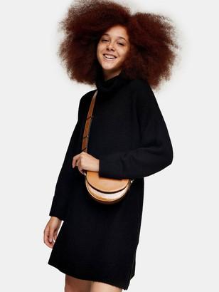 Topshop Plaited Funnel Neck Dress - Black