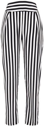 L'Agence Abrienne Striped Silk Tapered Pants