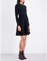 Sandro Faux-pearl-embellished knitted dress