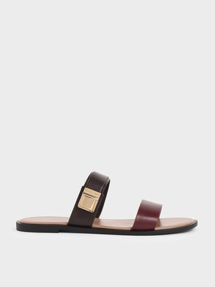 Charles & Keith Buckle Double Strap Slide Sandals