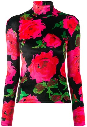 Richard Quinn Turtle Neck Floral Pattern Top