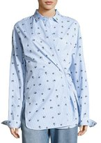 Robert Rodriguez Floral-Emrboidered Striped Shirt, Blue/White