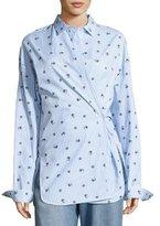Robert Rodriguez Floral-Print Striped Shirt, Blue/White