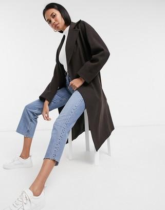 Helene Berman wool blend double breasted oversized coat in brown
