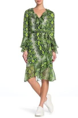 Diane von Furstenberg Carli Python Snake Skin Print Silk Wrap Dress