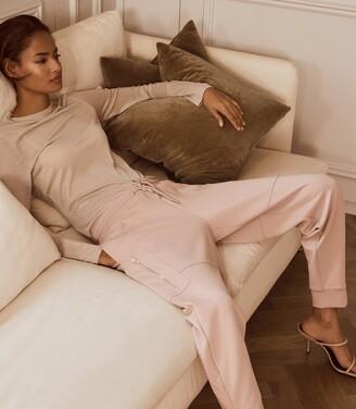 Reiss Angelina - Jersey Loungewear Joggers in Blush